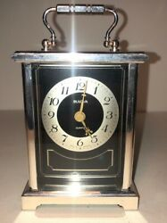 Vintage Bulova Quartz Mantel Carriage Clock Art Deco Made In Germany B 1300 288
