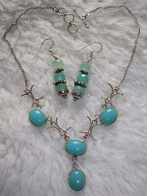 Aqua Chalcedony Teal Blue Stone Necklace & Dangle Earrings Gift Set & FREE BONUS