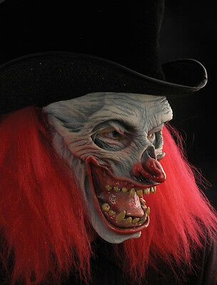 Evil Scary Clown Now Thats Funny Mask Black Top Hat & Wig Halloween (Funny Scary Masks)
