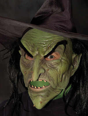 Evil Green Witch Latex Mask Wig & Hat Halloween Ultimate Mask Moving - Witch Latex Mask