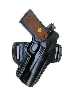 """Colt 1911 Pistol Clones OWB Holster 5"""" Locked & Cocked Black Leather Right"""