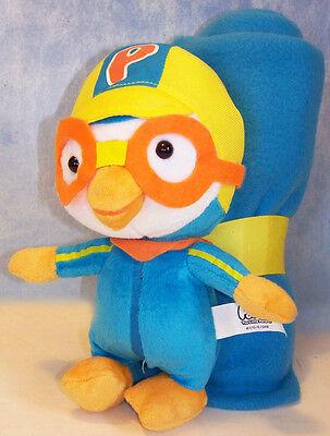 """New Pororo Toy The Little 9"""" 23 cm Penguin Doll & Plush Blanket Bonus Korean Air"""