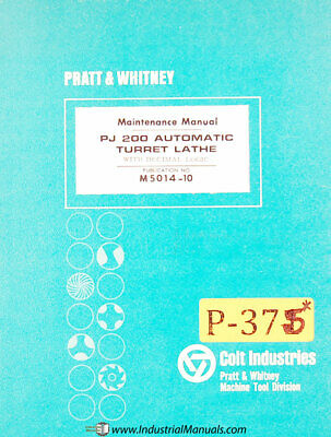 Pratt Whitney Pj200 Automatic Lathe Maintenance Manual