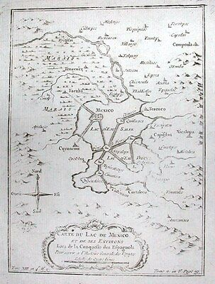 Antique map, Carte du lac de Mexico et de ses environs
