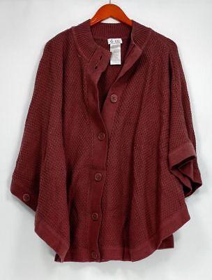 Denim & Co. Women's Plus Sz Sweater 3X Stand Collar Button Poncho Purple (Denim Poncho)