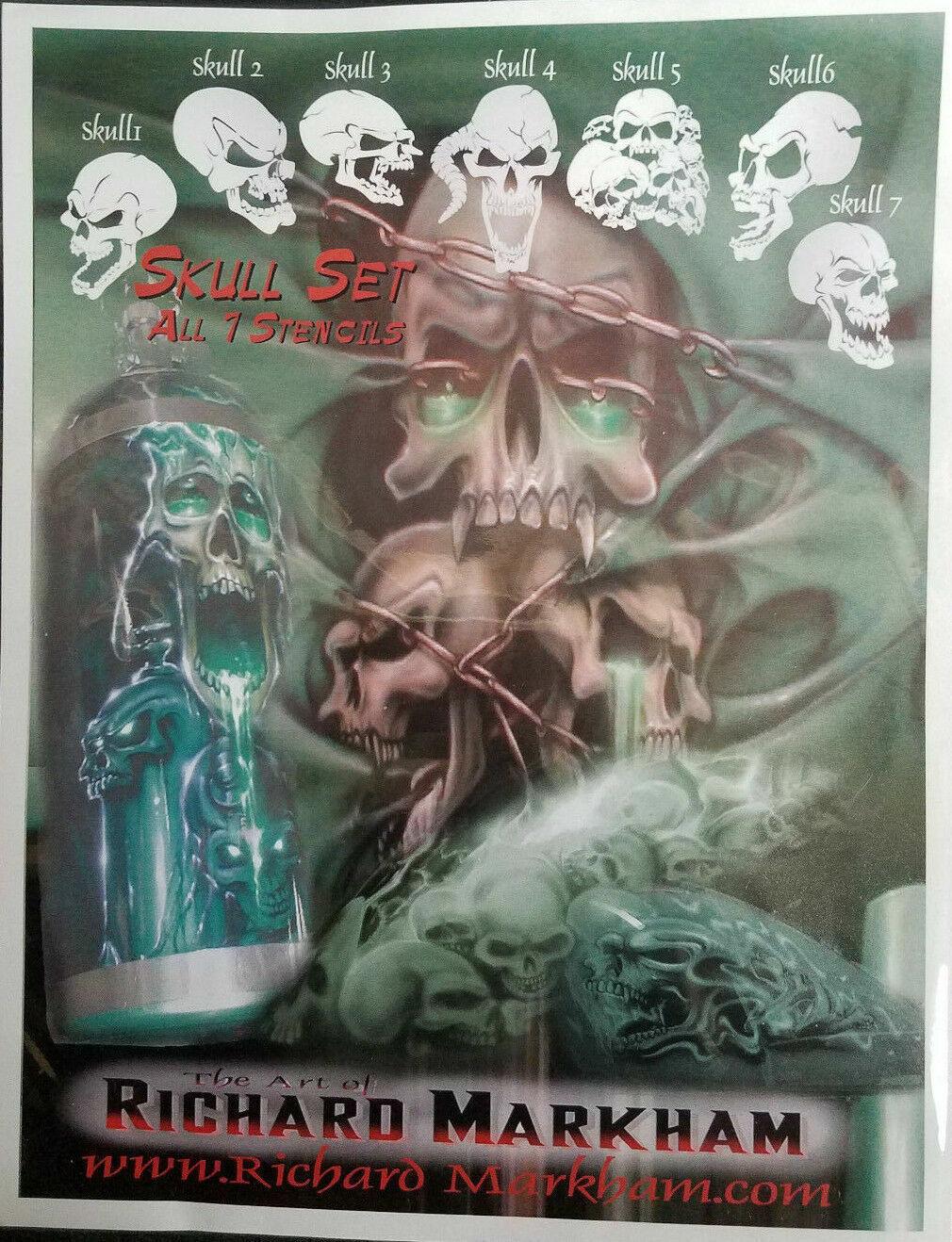 Richard Markham Skull Stencil Set -Airbrush Stencils 7 Piece Set #4841-00 Crafts
