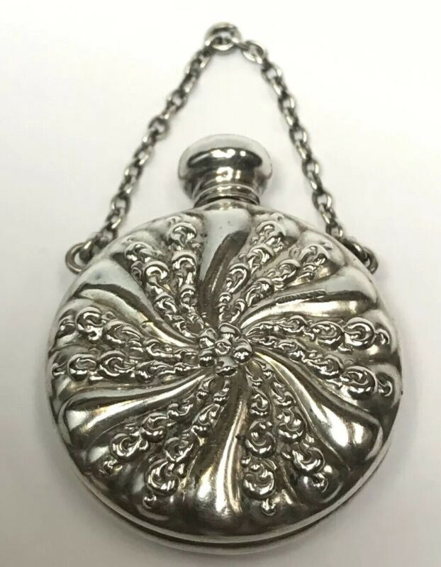 GORGEOUS ANTIQUE STERLING SILVER FLORAL PERFUME CONTAINER BOTTLE VINTAGE