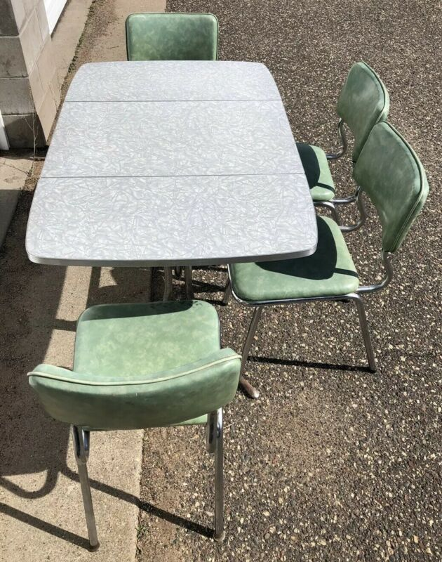 VTG Gray Top Formica Foldable Table w/ 4 Green Chairs