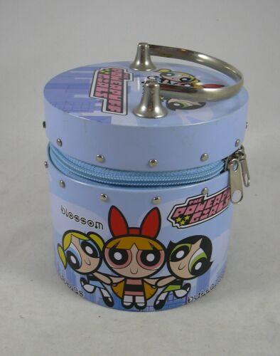 PowerPuff Girls Blue Hoop Handle Round Metal Purse 2000 Cartoon Network Zipper