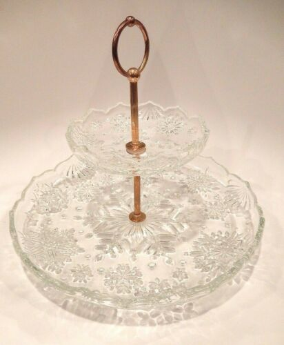 Two-Tier Cut Glass Serving Tray with Snow Flake Design