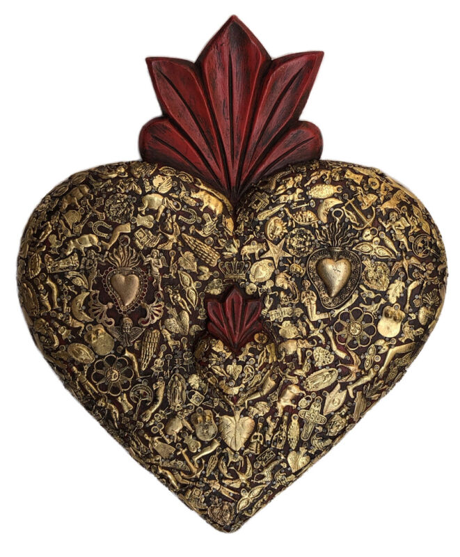 """XLG Mexican MILAGROS HEART, Sacred Heart with Charms, Ex Votos Corazon 19"""""""
