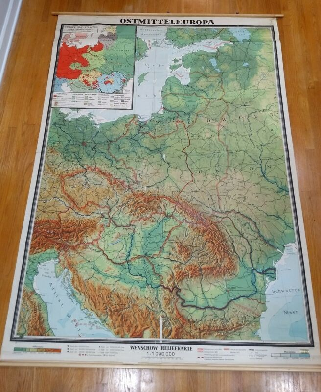 Beautiful Vintage relief map Eastern Europe Wenschow physical school wall chart