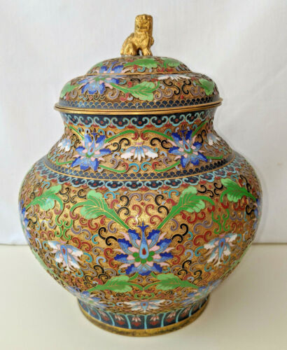 LARGE Vintage Chinese JINGFA Cloisonne Vase/Urn with Original Foo Dog Finial Lid