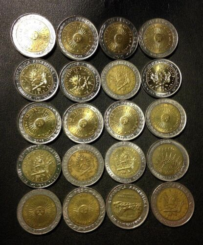 Old Argentina Coin Lot - 20 High Grade Peso Bi-Metal Coins - FREE SHIP