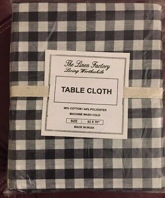 The Linen Factory 52x70 Cotton/Poly Black/white check gingham tablecloth topper (Black Linen Tablecloth)