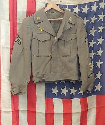 Vintage WW2 US ARMY SERGEANT Wool Officers Uniform Jacket dated 1944 w Flag