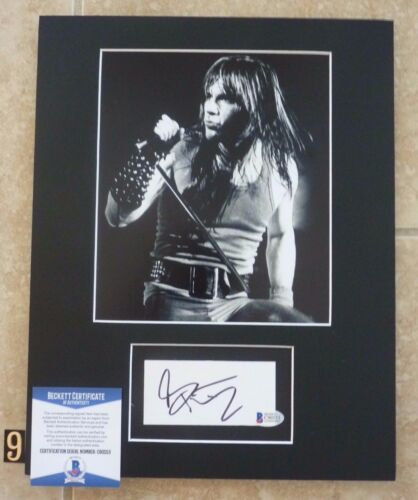 Bruce Dickinson Iron Maiden Signed 11x14 Matted Photo Display #9 BAS Certified