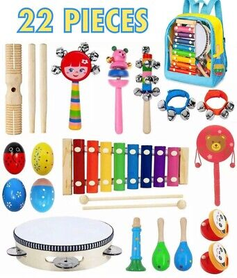 22pc Kids & Toddler Educational Musical Instrument Set, Xylophone, Tambourine
