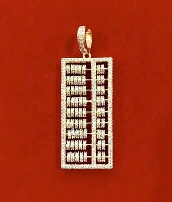 Men's 14K Gold Finish Bust Down MOVABLE ABACUS COUNTING Pendant Charm Pc
