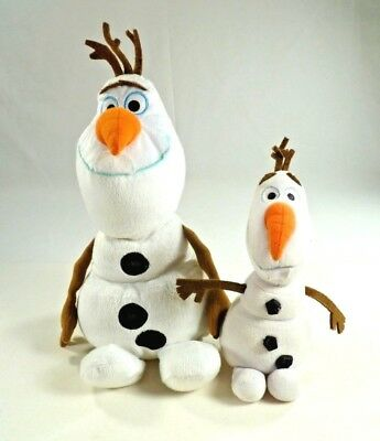 "Disney Frozen Olaf Stuffed Plush Cuddle Beanbag Doll Snowman Toy 12""/9"" Lot of 2"
