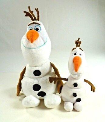 "Lot of 2 Disney Frozen Olaf Stuffed Plush Cuddle Beanbag Doll Snowman Toy 12""/9"""