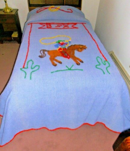 Vintage Chenille Western Cowboy Horse Brands Horseshoe Bedspread twin