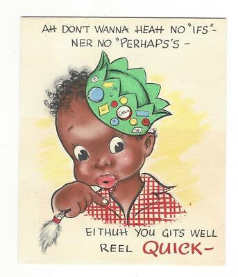 VINTAGE 1940's Greetings Inc - Black Americana Greeting Card - Get Well Card