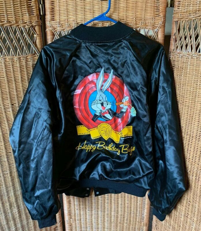 Vintage Bugs Bunny Birthday jacket Silky Black With Soft Lining Snaps