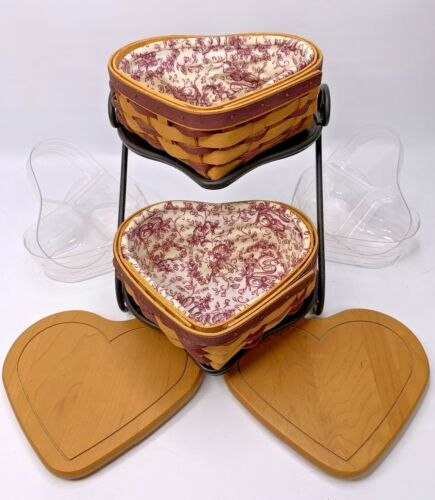 2 Longaberger LITTLE LOVE Baskets & HEART TO HEART Stand Lids Liners Protectors