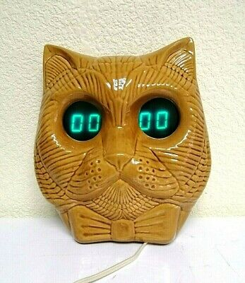 Vintage Space Age Soviet Electronika Ceramic Clock Cat Nixie Tube Clock. Rare!!!