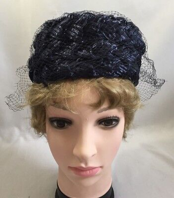 Vtg 1950s Ladies Womens Ribbon Pillbox Hat Navy Blue Veiled Summer Accessory2917