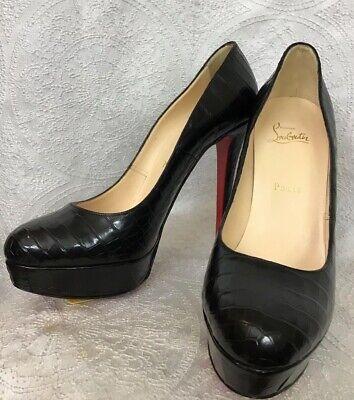 Christian Louboutin Shoe Black Alligator Platform New Size 40 1/2 Size 9