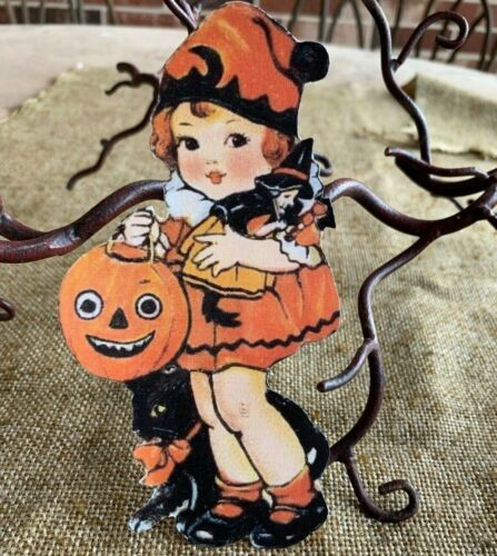 Repro Vintage 1900s Girl with Witch Doll  JOL Halloween Cardstock Decoration,10""