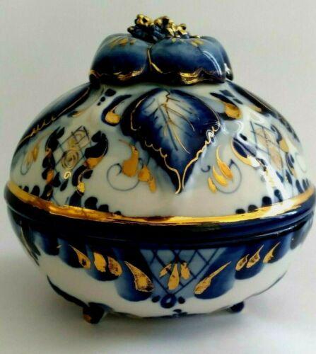 Russian Gzhel Porcelain Lidded Trinket Candy Box Cobalt Blue Gild Flower Signed