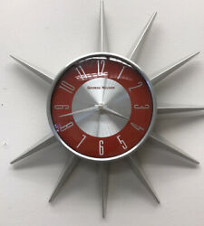 Vintage GEORGE NELSON Wall Clock Retro Star Burst Sun Burst Red