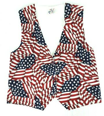 Patriotic Vest nylon White with American Flag front 4th of July Independence Day