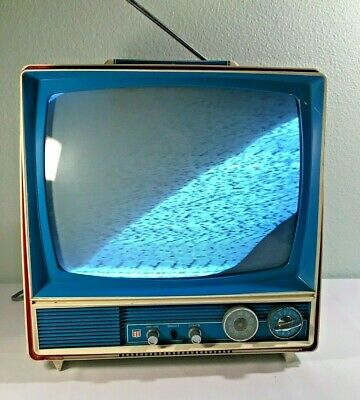 VTG & RARE 60s/70s General Electric SF2100AME Television -Red, White & Blue WORKS
