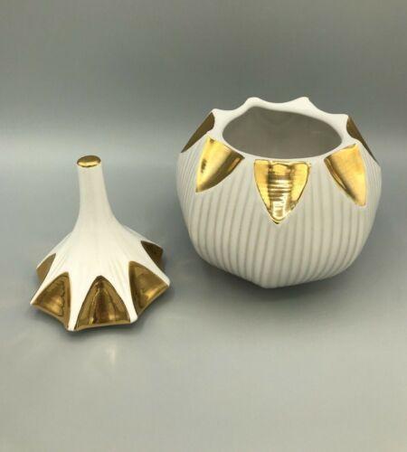 Jonathan Adler Gold & White Glazed Ceramic Jar Container