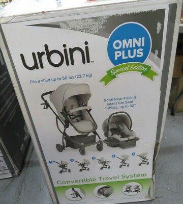 Urbini Baby Stroller Omni Plus 3 in 1 Travel System With Canopy Portable Outdoor