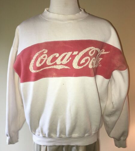 Vintage 80s Coca Cola sweatshirt large, red on white