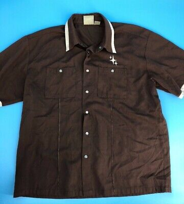 ebb10f93 VTG Bowling Shirt Brown Snap Button Mid Century Star Size Large (i1)