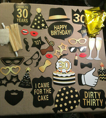 30th Party Decorations (30th Birthday Decorations Gold Mylar Balloons with 36pc Party photo)