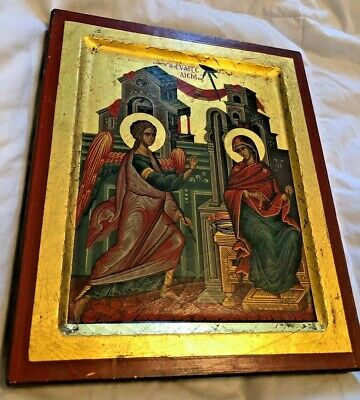GORGEOUS VINTAGE HAND PAINTED CATHOLIC BYZANTINE ICON FROM NUNS CONVENT W/ COA
