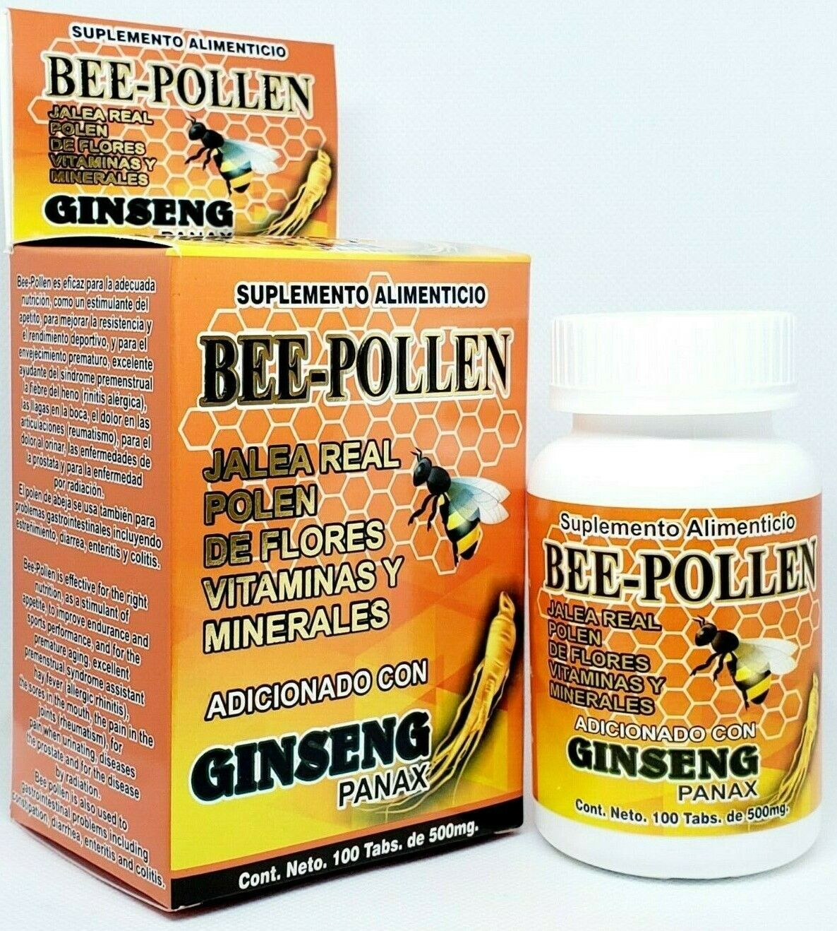 Bee-Pollen Tabletas Jalea Real Bee Royal Jelly Polen Ginseng Hierro 100 Tablets