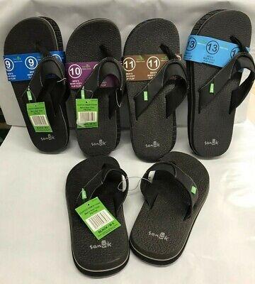 Sanuk BLACK Men's Beer Cozy Flip Flops Sandals NEW Size 8, 9, 10, 11, 12, 13  Beer Flip Flops Sandal