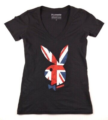 Playboy Womens V-Neck British UK Flag Bunny Logo Sizes M, -