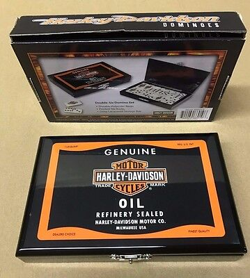 NEW Harley-Davidson Oil Can Domino Set Double Six Dominoes FREE Shipping