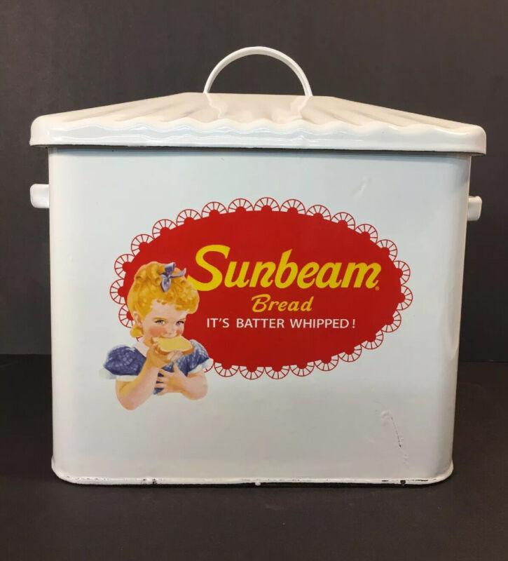 Enamel Sunbeam Bread Box Vtg Style Country Kitchen and Farmhouse Home Decor NEW