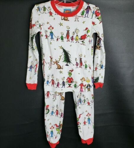 POTTERY BARN KIDS GRINCH CHRISTMAS COTTON TIGHT FIT PAJAMAS SIZE 6 DR SEUSS
