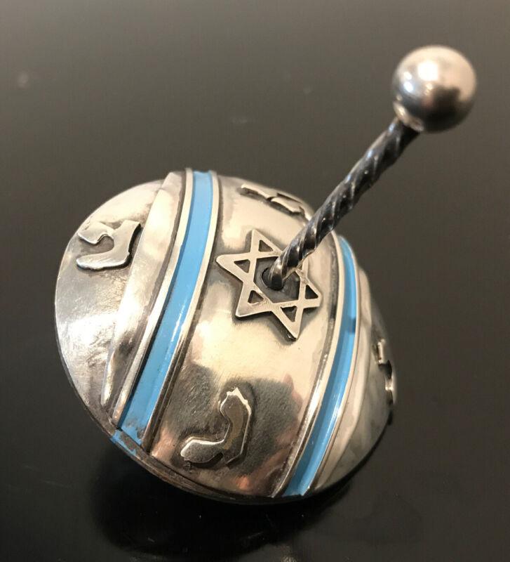 Sterling SILVER DREIDEL Hanukkah Top Display Judaica Draydel Ornate Enameled